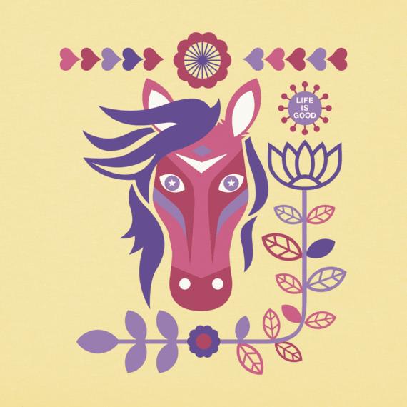 Girls Horses And Flowers Crusher Tee