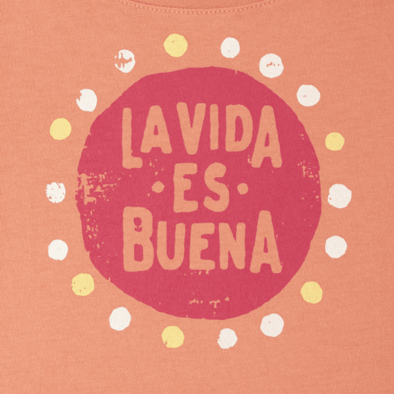 Girls La Vida Es Buena Long Sleeve Scoop Neck Swing Tee