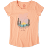 Girls Landscape Watercolor Smiling Smooth Tee