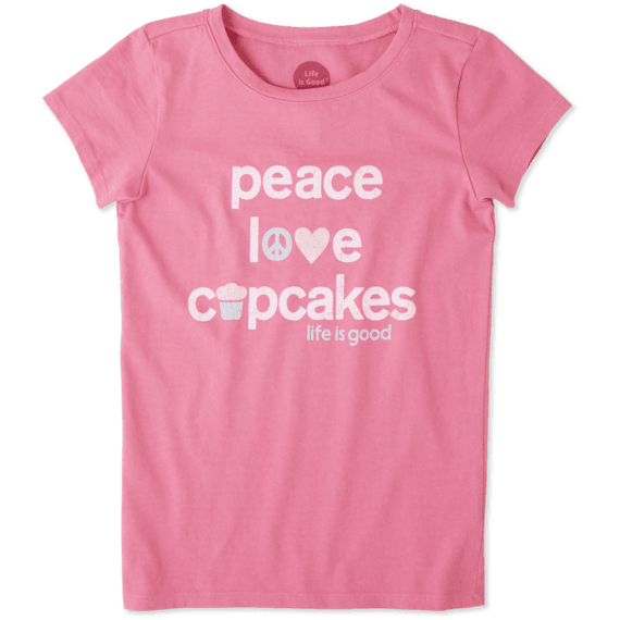 Girls Peace, Love, Cupcakes Crusher Tee