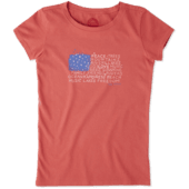 Girls Peace Love Flag Crusher Tee
