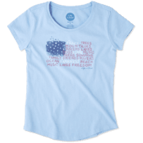 Girls Peace Love Flag Smiling Smooth Tee