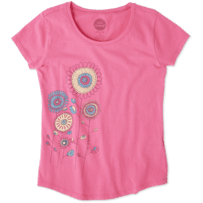 Girls Playful Flowers Smiling Smooth Tee