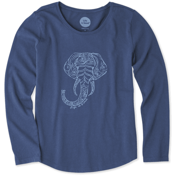 Girls Primal Elephant Smiling Long Sleeve Smooth Tee