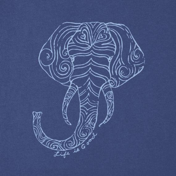 Girls Primal Elephant Smiling Long Sleeve Smooth Tee