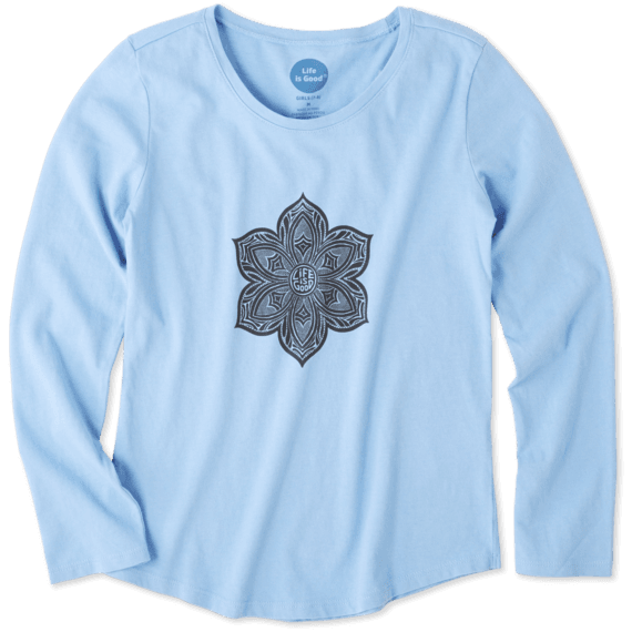 Girls Primal Flower Smiling Long Sleeve Smooth Tee