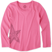 Girls Primal Star Smiling Long Sleeve Smooth Tee