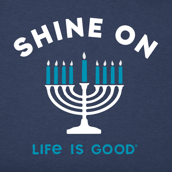 Girls Shine On Menorah Long Sleeve Crusher Tee