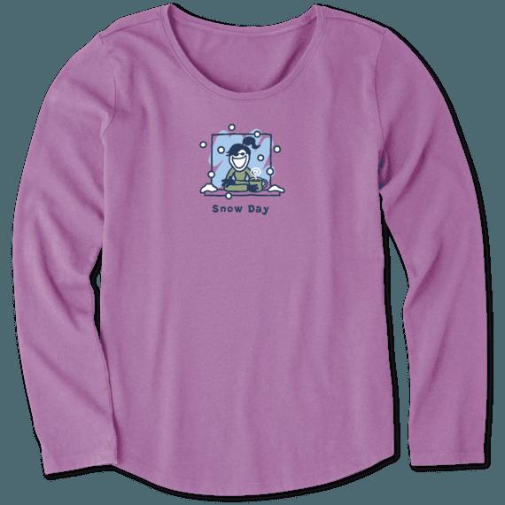 Girls Snow Day Vintage Long Sleeve Crusher Tee