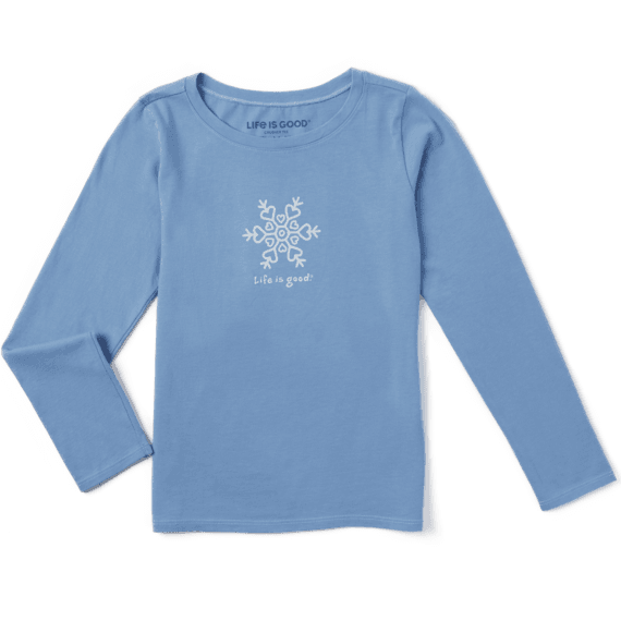 Girls Snowflake Vintage Long Sleeve Crusher Tee