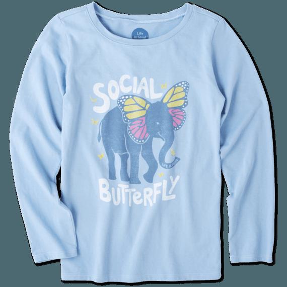 Girls Social Butterfly Long Sleeve Crusher Tee