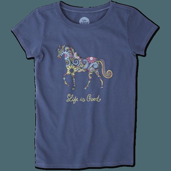 Girls Swirly Horse Crusher Tee