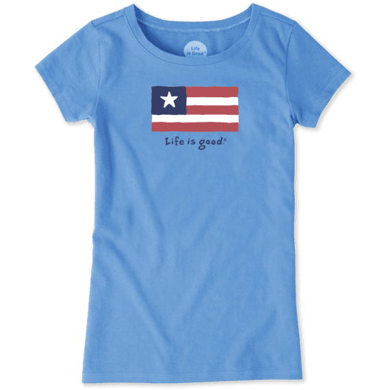 Girls Three Stripe Flag Vintage Crusher Tee