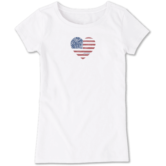 Girls Watercolor Flag Heart Crusher Tee