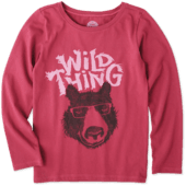 Girls Wild Thing Bear Long Sleeve Crusher Tee