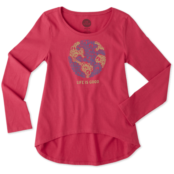 Girls World Peace Long Sleeve Scoop Neck Swing Tee