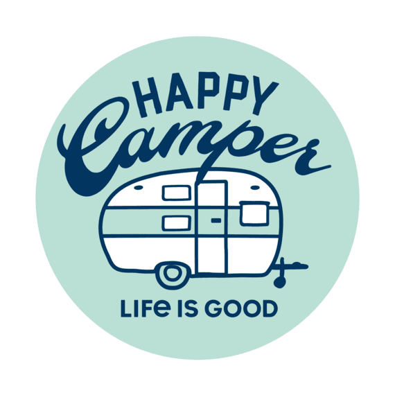 "Happy Camper 4"" Circle Sticker"