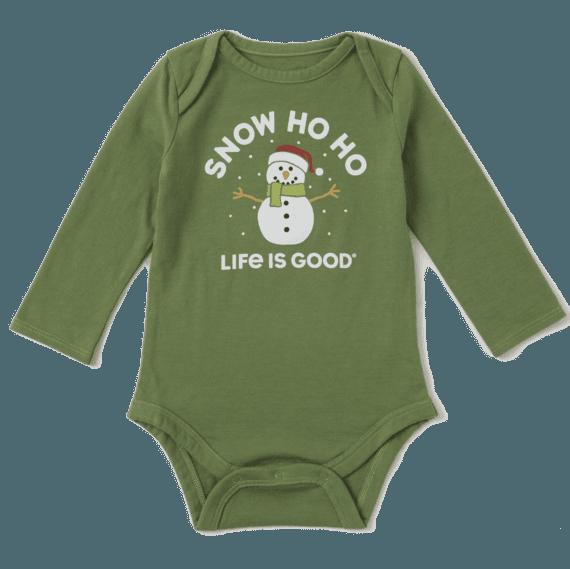 Infant Snow Ho Ho Long Sleeve Crusher Baby Bodysuit
