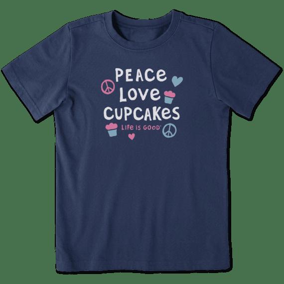 Kids Peace Love Cupcakes Crusher Tee