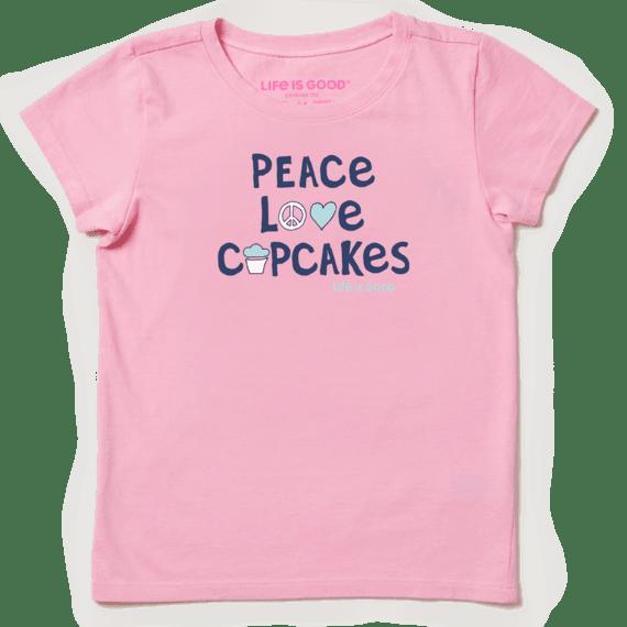 Kids Peace Love Cupcakes Girls Crusher Tee