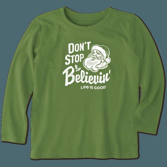 Kids Santa Don't Stop Believin' Toddler Long Sleeve Crusher Tee