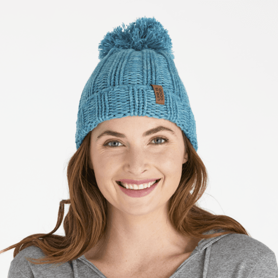 LIG Faux Leather Slouchy Pom Beanie