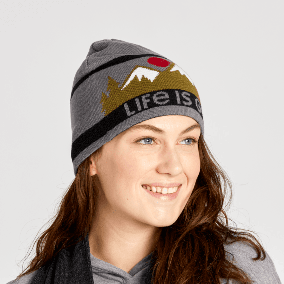 LIG Mountains Reversible Life is Good Beanie