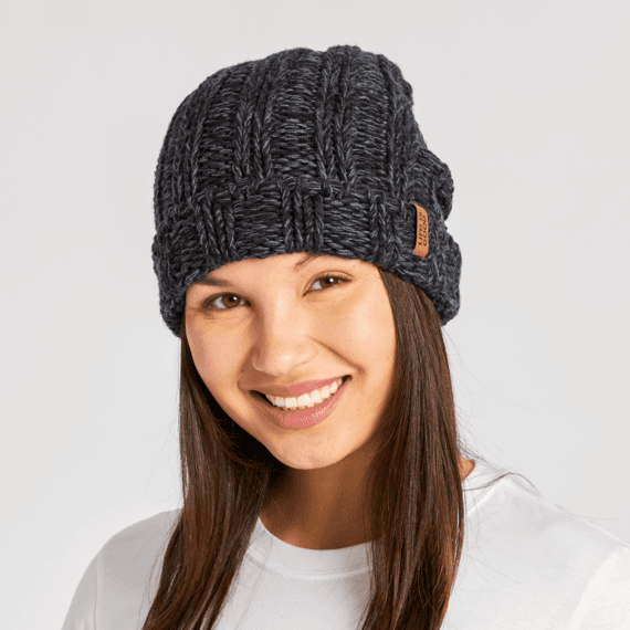 LIG Slouchy Faux Leather Slouchy Beanie