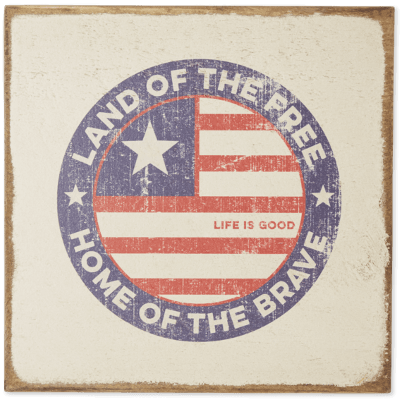 Land Of The Free Coin Large Wooden Sign
