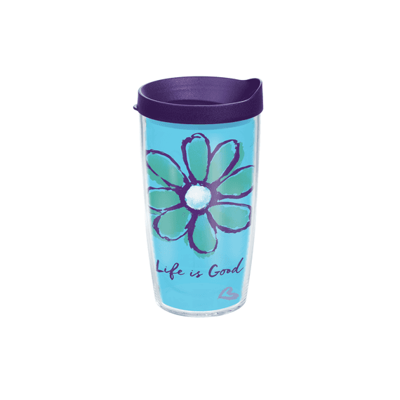 Life is Good Daisy Tervis Tumbler with Purple Lid, 16 oz.