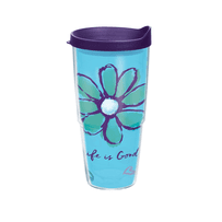 Life is Good Daisy Tervis Tumbler with Purple Lid, 24 oz.