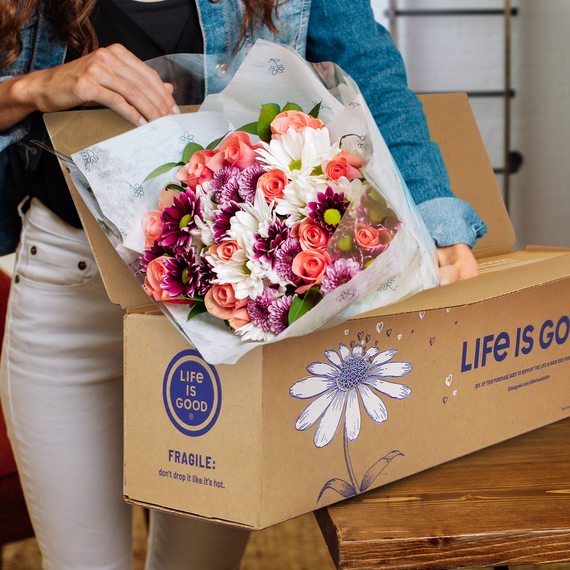 Life is Good Flowers with Vase