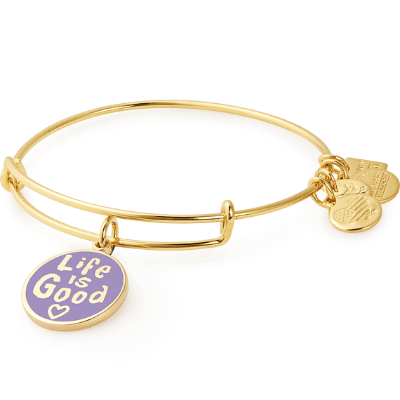 Life is Good Heart Charm Bangle Gold