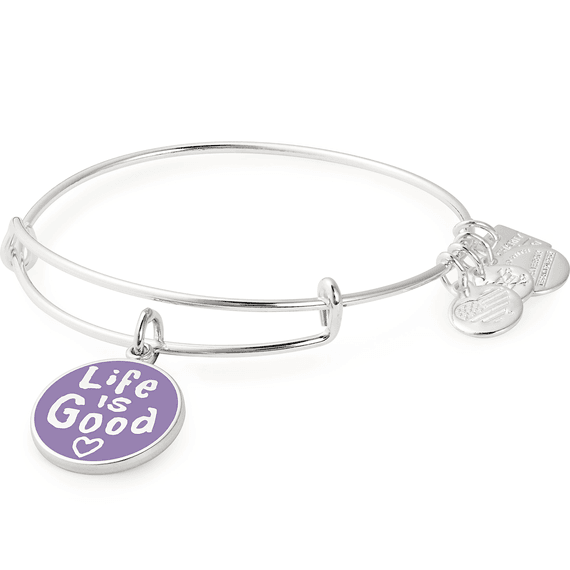 Life is Good Heart Charm Bangle Silver