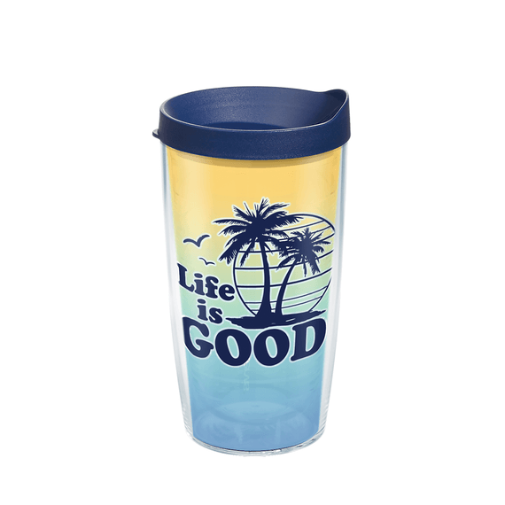 Life is Good Palm Tree Tervis Tumbler with Lid, 16oz