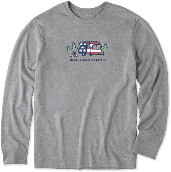 Men's Americana Camper Long Sleeve Vintage Crusher Tee