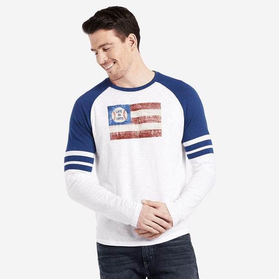 Men's Baseball Flag Vintage Sport Long Sleeve