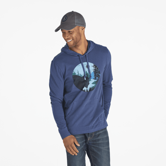 Men's Bison Silhouette Long Sleeve Hooded Crusher