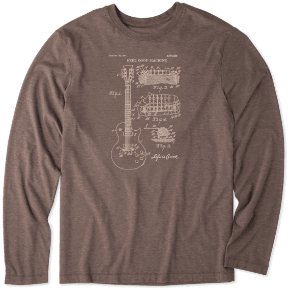 Men's Blueprint Guitar Long Sleeve Cool Tee