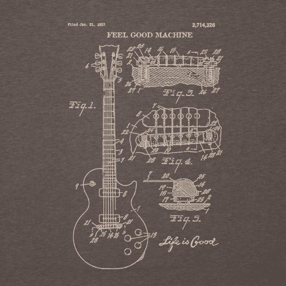 Men's Blueprint Guitar Long Sleeve Cool Tee
