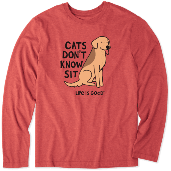 Men's Cats Don't Know Sit Long Sleeve Cool Tee