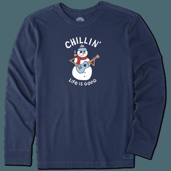 Men's Chillin' Snowman Long Sleeve Crusher Tee