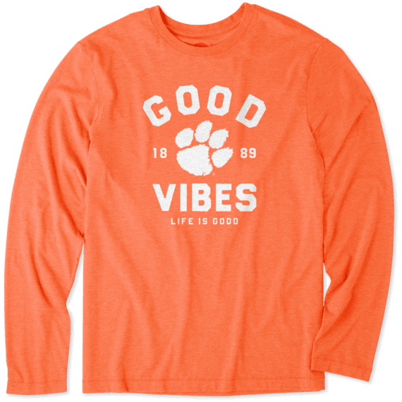 Men's Clemson Tigers Good Vibes Arc Long Sleeve Cool Tee
