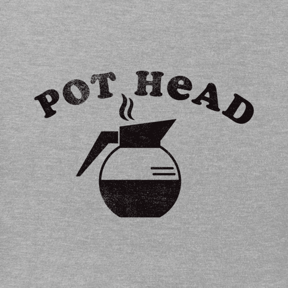 Men's Coffee Pot Head Long Sleeve Crusher Tee