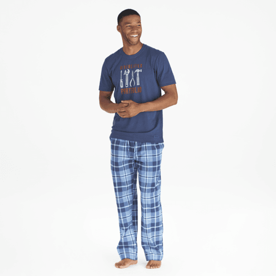 Men's Darkest Blue Plaid Classic Sleep Pant