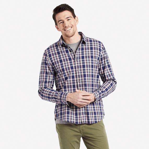 Men's Darkest Blue Plaid Down Plaid Shirt