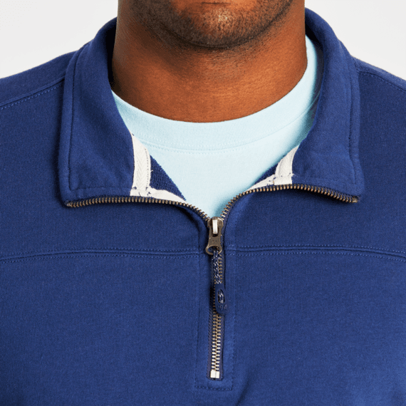 Men's Darkest Blue Simply True French Terry Quarter Zip