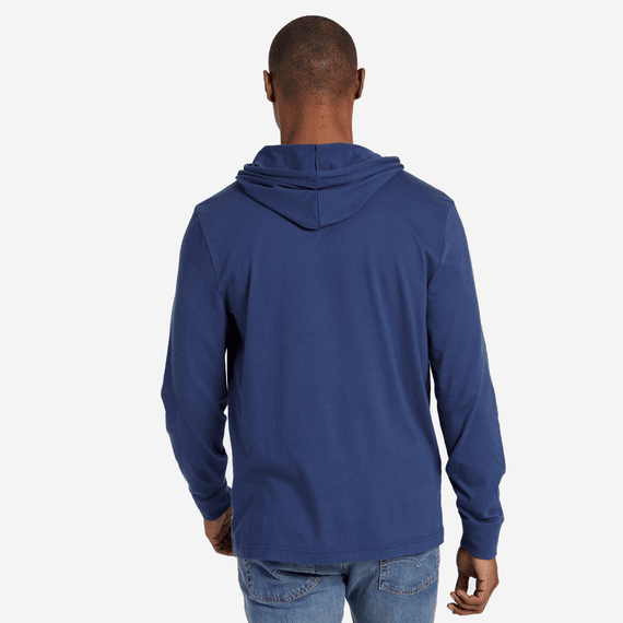 Men's Distressed Coin Hooded Long Sleeve Crusher Tee
