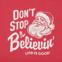 Men's Don't Stop Believin' Santa Long Sleeve Crusher Tee