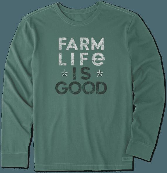 Men's Farm Life Is Good Long Sleeve Crusher Tee
